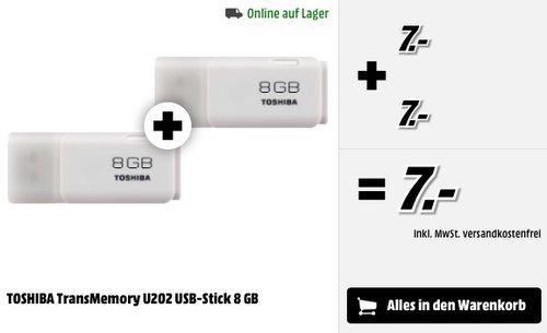 2 x TOSHIBA TransMemory U202 USB-Stick 8 GB - jetzt 50% billiger