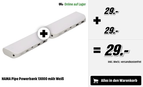 2 x HAMA Pipe Powerbank 13000 mAh Weiß - jetzt 50% billiger
