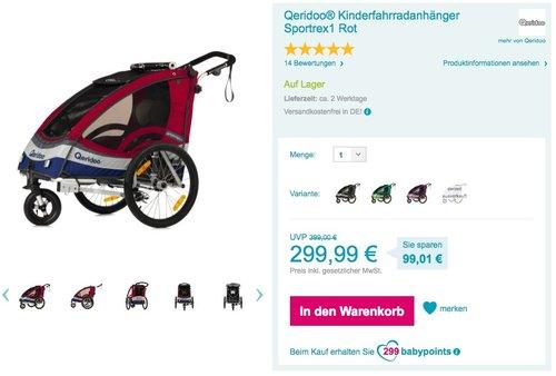 Qeridoo Sportrex 1 Fahrradanhänger 2017 - 1 Kind, rot - jetzt 7% billiger