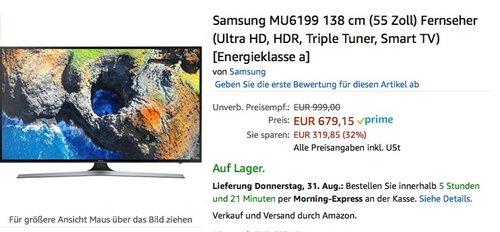 Samsung MU6199 138 cm (55 Zoll) Fernseher (Ultra HD, HDR, Triple Tuner, Smart TV) - jetzt 9% billiger