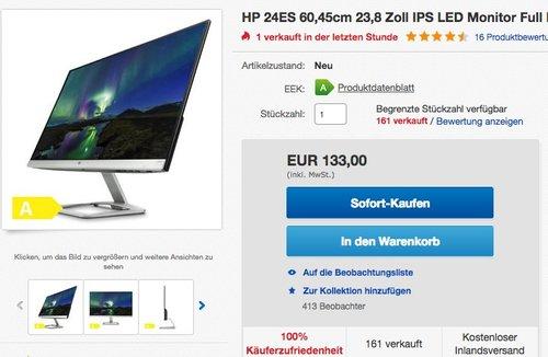 HP 24es (T3M78AA) 60,45cm (24 Zoll) Monitor  - jetzt 9% billiger