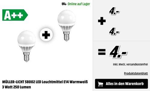 2er Set MÜLLER-LICHT LED MiniGlobe 3 Watt (25 Watt Ersatz) / E14 / 250 Lumen  - jetzt 46% billiger