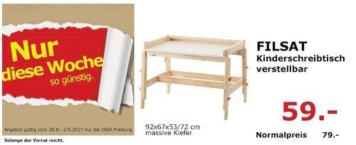 IKEA FILSAT Kinderschreibtisch verstellbar, 92x67x53/72 cm, massive Kiefer - jetzt 25% billiger