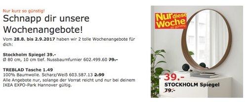 IKEA Stockholm Spiegel, Ø 80 cm, 10 cm tief. Nussbaumfurnier  - jetzt 51% billiger