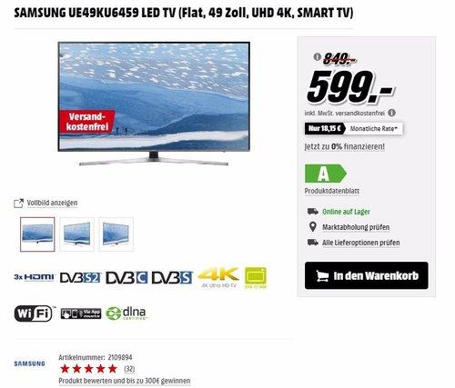 Samsung UE49KU6459 123 cm (49 Zoll) Fernseher (4K Ultra HD, HDR, Triple Tuner, Quad Core, Smart TV) - jetzt 29% billiger