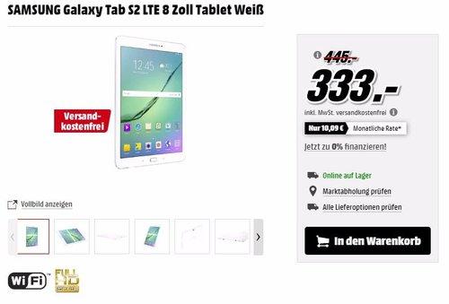 SAMSUNG Galaxy Tab S2 LTE 8 Zoll Tablet Weiß - jetzt 12% billiger