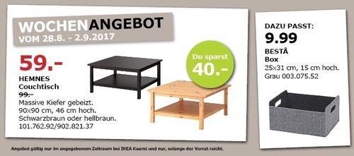 IKEA HEMNES Couchtisch, 90x90 cm, 46 cm hoch, schwarzbraun oder hellbraun - jetzt 40% billiger