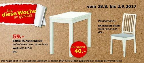 IKEA BJURSTA Ausziehtisch, 50/70/90x90 cm, 74 cm hoch, weiß - jetzt 40% billiger