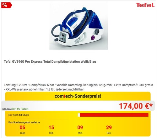 Tefal GV8960 Dampfbügelstation Pro Express Total - jetzt 11% billiger