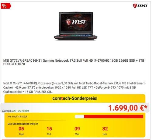 MSI GT72VR-6REAC16H21 Gaming Notebook 17,3 Zoll Full HD i7-6700HQ 16GB 256GB SSD + 1TB HDD GTX 1070 - jetzt 11% billiger