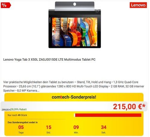 Lenovo Yoga Tab 3-10 25,65cm (10,1 Zoll HD) Convertible Media Tablet - jetzt 14% billiger