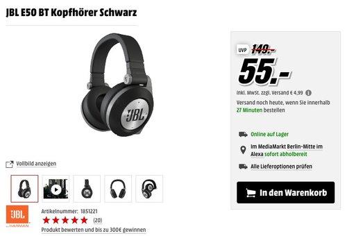 JBL E50 BT Wireless Bluetooth Over-Ear Stereo-Kopfhörer Schwarz - jetzt 35% billiger