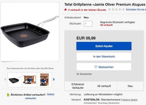 Tefal E21141 Jamie Oliver Premium Aluguss Induction Wave Grillpfanne (27 x 23 cm) schwarz - jetzt 49% billiger