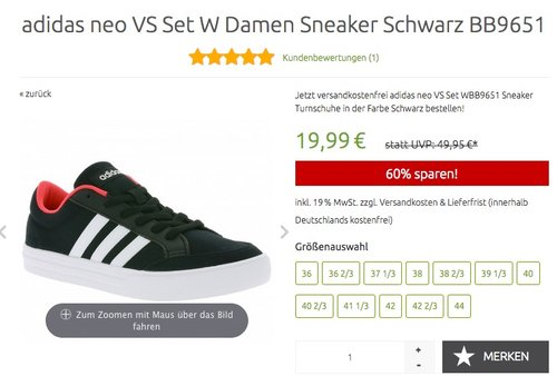 adidas neo VS Set W Damen Sneaker Schwarz - jetzt 60% billiger
