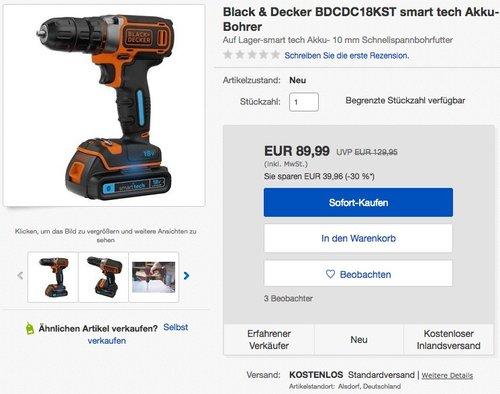 Black+Decker Bohrschrauber, 18V, 1.5Ah Akku - jetzt 15% billiger