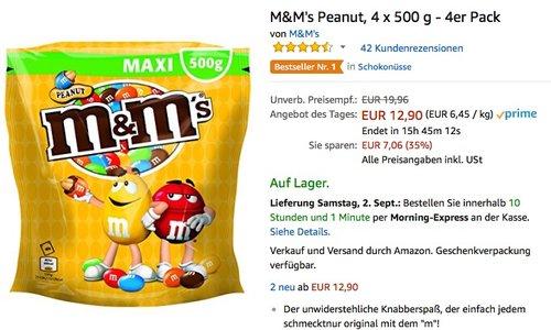 M&M's Peanut, 4 x 500 g - 4er Pack - jetzt 35% billiger