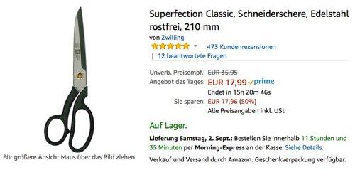 Zwilling Superfection Classic, Schneiderschere, Edelstahl rostfrei, 210 mm - jetzt 33% billiger
