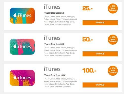 15% Extra-Guthaben beim Kauf von iTunes-Guthaben 25€, 50€ oder 100€  - jetzt 13% billiger