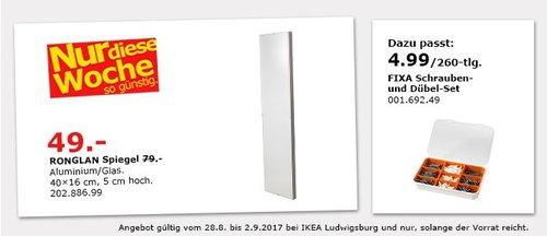 IKEA RONGLAN Spiegel, 40x16 cm - jetzt 38% billiger