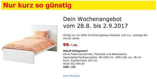 IKEA MALM Bettgestell, 90x200 cm, weiß - jetzt 23% billiger