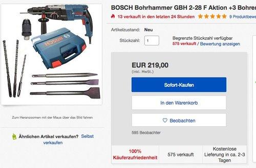 Bosch GBH 2-28 F Bohrmaschine - jetzt 11% billiger