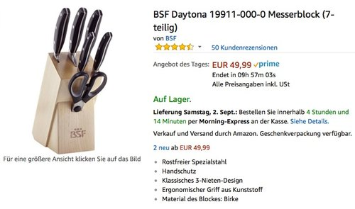 BSF Daytona 19911-000-0 Messerblock (7-teilig) - jetzt 32% billiger