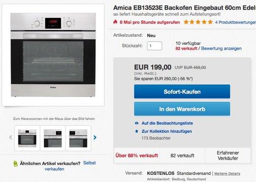 Amica EB 13523 E Backofen Elektro - jetzt 11% billiger