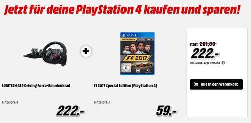 Logitech G29 Racing Lenkrad Driving Force für PS4, PS3 und PC plus F1 2017 Special Edition - jetzt 17% billiger