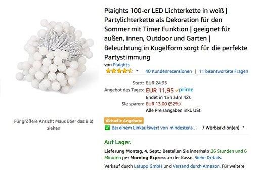 Plaights 100-er LED Lichterkette in weiß - jetzt 52% billiger