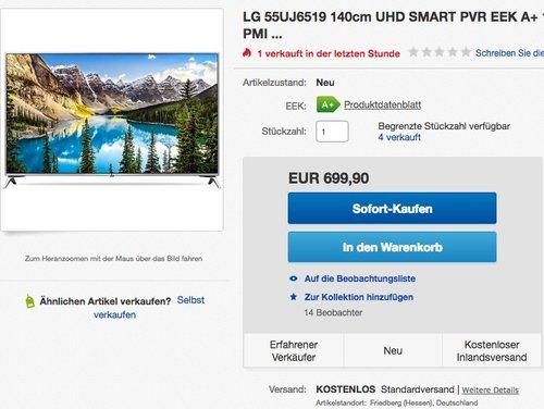 LG 55UJ6519 55 Zoll Fernseher (Ultra HD, Triple Tuner, Smart TV, Active HDR) - jetzt 11% billiger