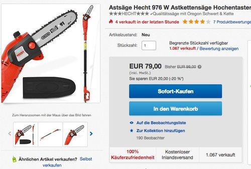 HECHT Elektro-Hochentaster 976 W Astkettensäge Profi-Astsäge (750 Watt, Schwertlänge: 24 cm, Arbeitshöhe: bis 4 m) - jetzt 19% billiger