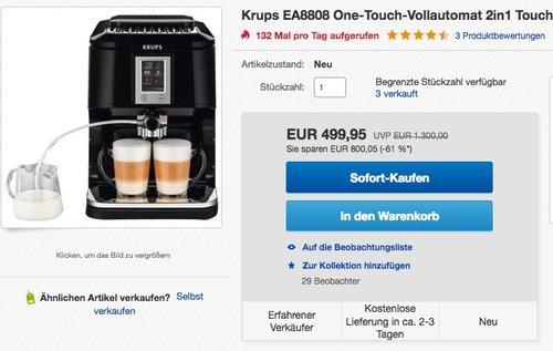 Krups EA8808 Kaffeevollautomat (Two-in-One-Touch Funktion, 15 bar, Touchscreen-Farbdisplay) Edelstahl/ Schwarz - jetzt 21% billiger
