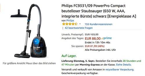 Philips FC9331/09 PowerPro Compact beutelloser Staubsauge - jetzt 16% billiger