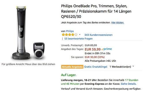 Philips OneBlade Pro QP6520/30 - jetzt 16% billiger