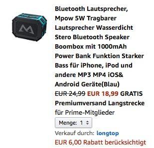 Mpow 5W Tragbarer Bluetooth  Lautsprecher - jetzt 24% billiger