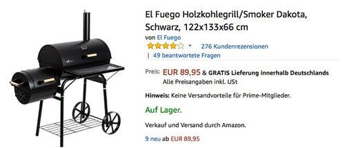 El Fuego Holzkohlegrill/Smoker Dakota - jetzt 17% billiger