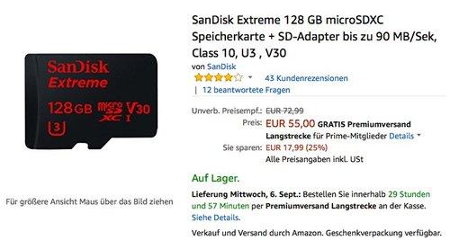 SanDisk Extreme 128 GB microSDXC Speicherkarte + SD-Adapter bis zu 90 MB/Sek, Class 10, U3 , V30 - jetzt 19% billiger