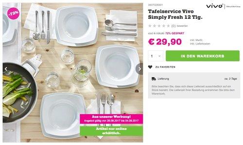 Vivo Simply Fresh Tafelset 12 teilig Geschirrsets, Porzellan, weiß - jetzt 41% billiger