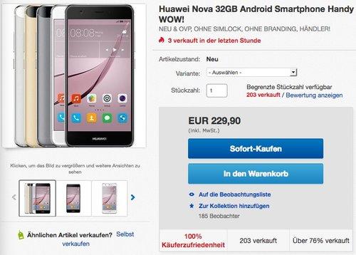 Huawei 51090UAW nova Smartphone (12,7 cm (5 Zoll), 32GB, Dual-SIM, 12 Megapixel Kamera, Android) titanium - jetzt 9% billiger
