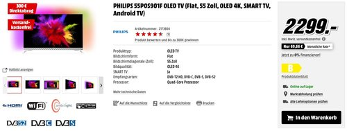 Philips 55POS901F 139 cm (55 Zoll) Fernseher (Ambilight, OLED 4K Ultra HD, Triple Tuner, Android TV) - jetzt 13% billiger