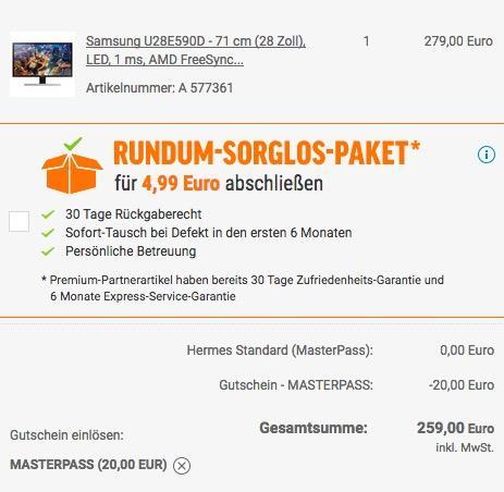 Samsung U28E590D 71,12 cm (28 Zoll) 4K-UHD Monitor - jetzt 16% billiger