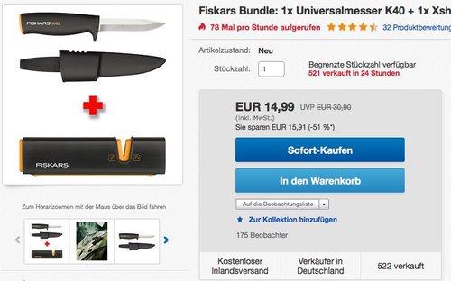 Fiskars Universalmesser, Inklusive Köcher zum sicheren Verstauen, Länge 22,5 cm, Schwarz/Orange, K40 - jetzt 35% billiger