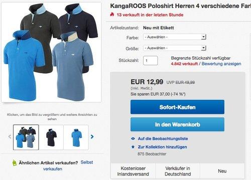 KangaROOS Herren Poloshirt in verschiedenen Farben und Größen - jetzt 35% billiger