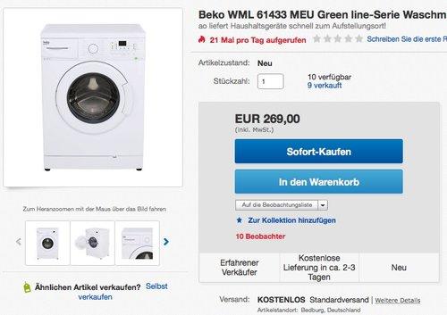 Beko WML 61433 MEU Green line-Serie Waschmaschine - jetzt 26% billiger
