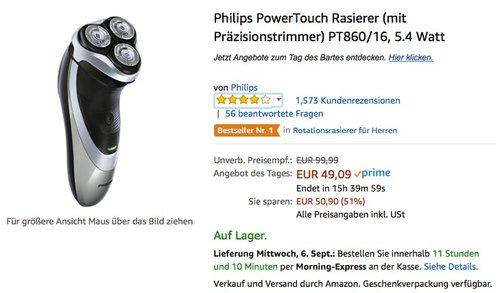 Philips PowerTouch Rasierer PT860/16 - jetzt 21% billiger
