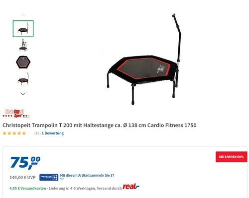 Christopeit Trampolin T 200 mit Haltestange ca. Ø 138 cm Cardio Fitness 1750 - jetzt 21% billiger