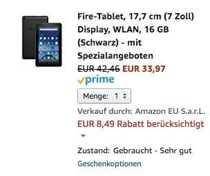 Fire-Tablet, 17,7 cm (7 Zoll) Display, WLAN, 16 GB (Schwarz) - mit Spezialangeboten  - jetzt 20% billiger