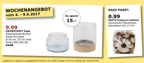 IKEA HAVSUTSIKT Vase, 16x27 cm, türkis - jetzt 60% billiger
