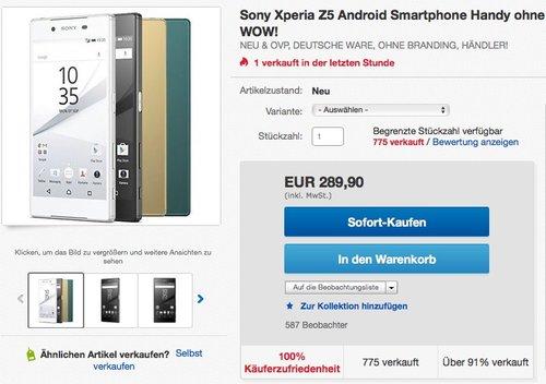 Sony Xperia Z5 Smartphone (5,2 Zoll (13,2 cm) Touch-Display, 32 GB interner Speicher - jetzt 8% billiger