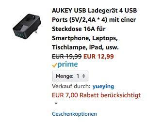 AUKEY USB Ladegerät 4 USB Ports (5V/2,4A * 4) mit einer Steckdose 16A  - jetzt 35% billiger